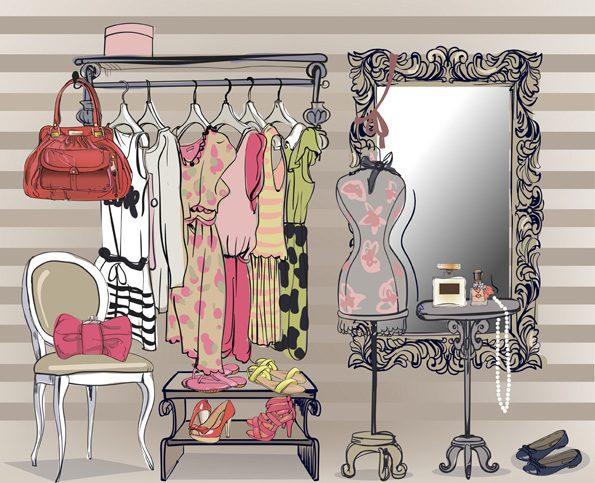 Kleiderschrank mit verschiedenen Outfits für einen guten Start ins Referendariat
