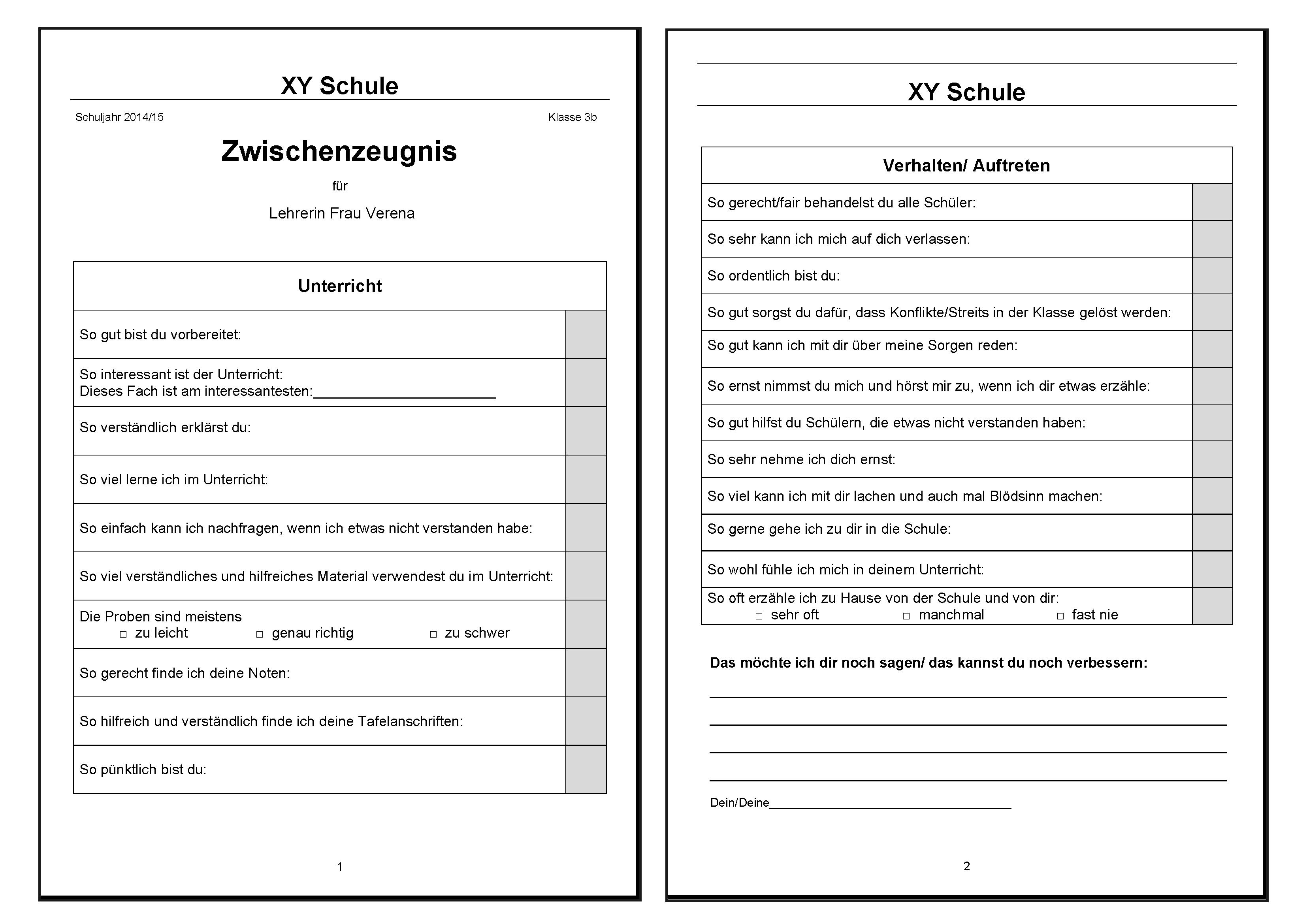 vorlage fr ein zeugnis mit dem die lehrkraft bewertet werden kann - Arbeitszeugnis Schreiben Muster