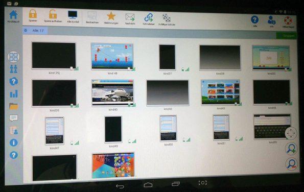 Screenshot des Programms Netsupport, welches mir in meiner Tabletklasse einen Blick auf die Geräte der Kinder ermöglicht