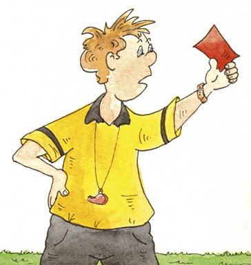 Schiedsrichter hält eine rote Karte hoch, die die Unterrichtsstörungen unterbinden soll.