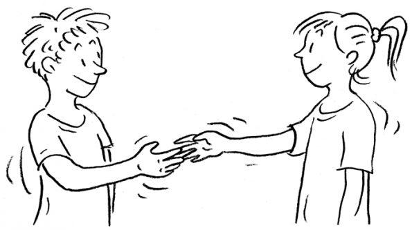 Zwei Schüler reichen sich die Hand - die Mediation hat ihren Zweck erfüllt.