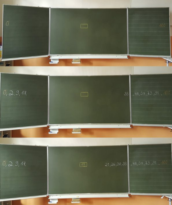 Spiele für zwischendurch: Tafel mit vorgegebenem Zahlenraum und geratenen Zahlen.