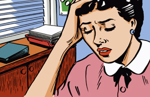 Frau hält sich den Kopf. Ihre Gesundheit ist durch Stress und Überforderung gefährdet.