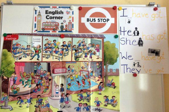 Plakate und Informationen an der Pinwand, die die Englisch Ecke bilden