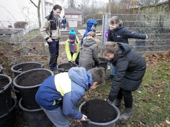 Die ersten Arbeiten im Schulgarten. Kinder bringen den anglieferten Sand zu den Beeten.
