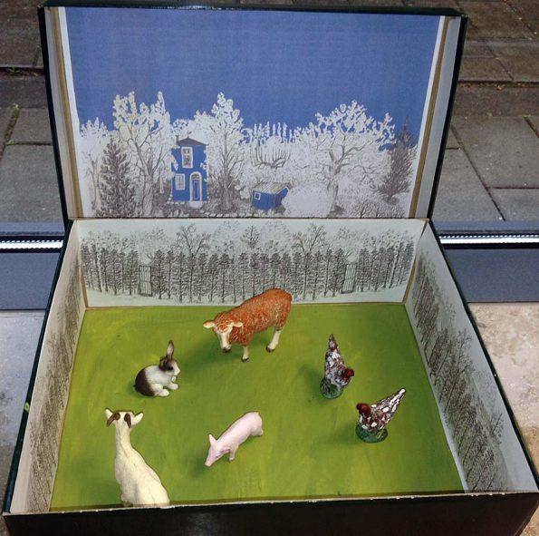 Lesekisten können auch, wie hier, einen Bauernhof darstellen.