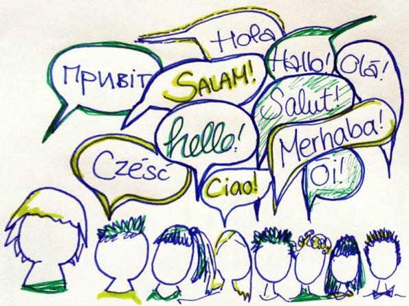 In der DaZ-Sprachfördergruppe finden sich viele Sprachen, die hier in den Sprechblasen abgebildet sind.