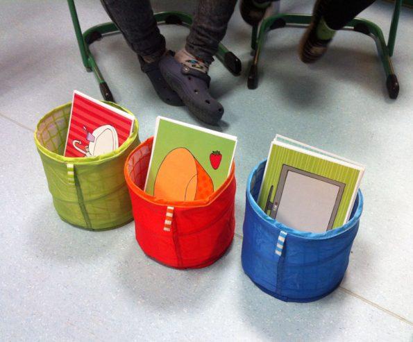 Drei Körbchen in den Farben grün, rot und blau. Diese sollen den Kindern im Daz Unterricht dabei helfen, die Artikel den Gegenständigen richtig zuzuordnen.