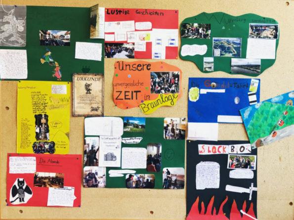 Das Foto zeigt eine Wandzeitung, die die Schülerinnen und Schüler nach ihrer Klassenfahrt erstellt haben.