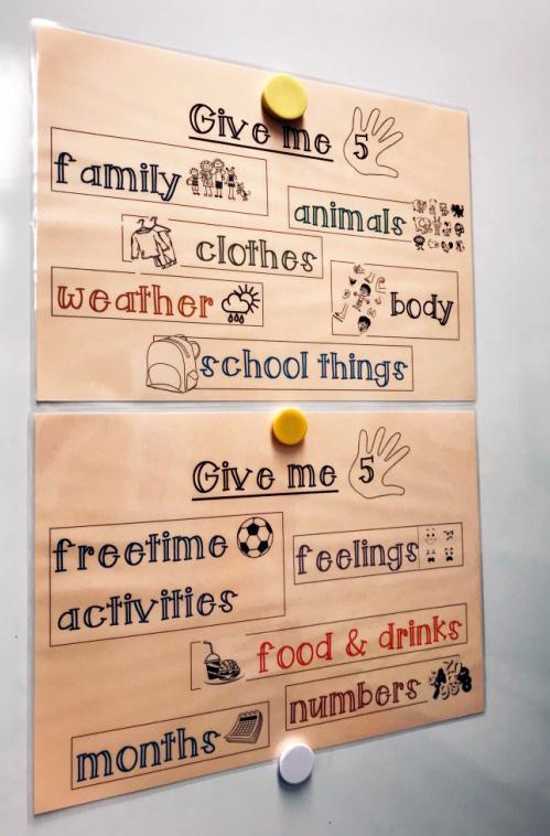 """Plakate für das """"Give me five""""-Spiel, die im Klassenraum an der Wand hängen."""