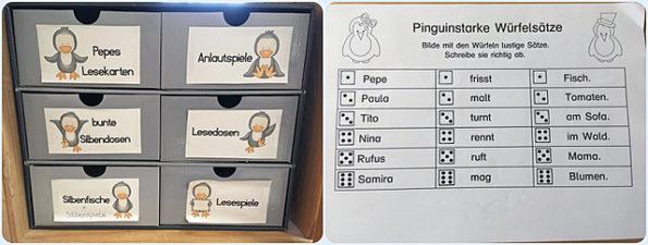 Der Pinguin als Klassenmaskottchen befindet sich auf Arbeitsblättern und Ordnungssystemen.