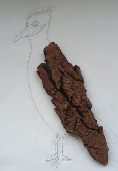 Kunst mit Naturmaterialien (1): Baumrinden-Tiere auf Leinwand